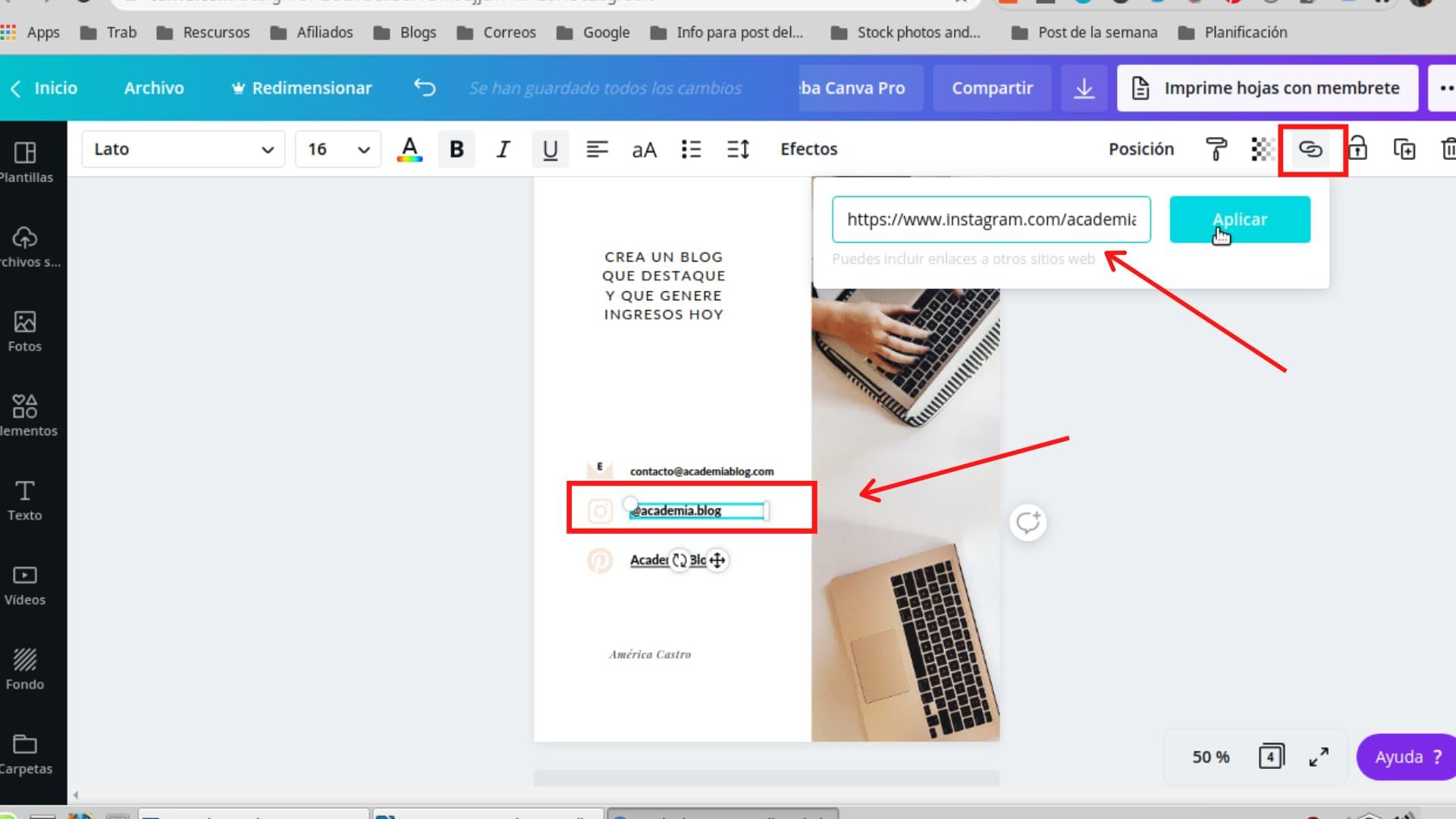 trucos para diseñar con Canva agregar enlaces en canva