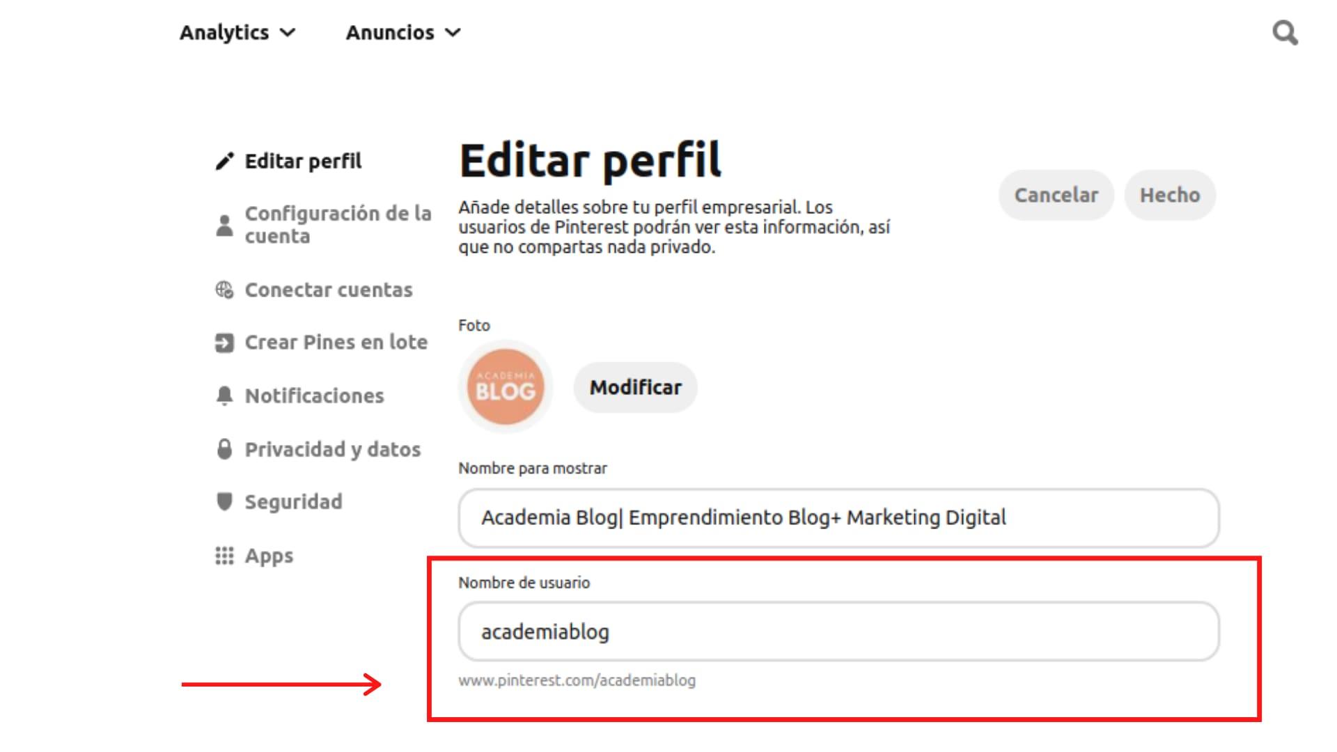 Editar perfil Pinterest cambiar usuario